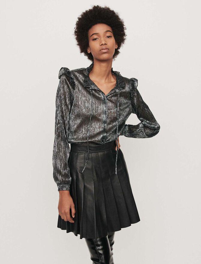 Camicia con volant in Lurex - Midseason-Sales_UK_30% - MAJE