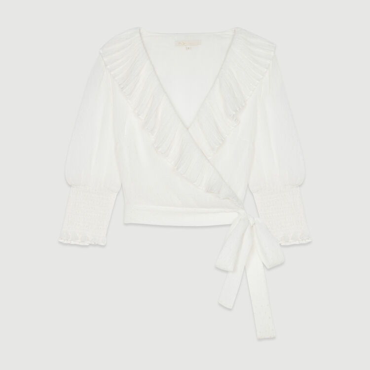 Top corto con volant in plumetis : Tops e Camicie colore Bianco