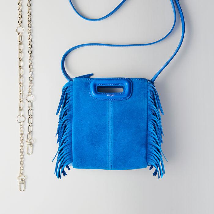 Borsa M Mini in suede bicolore : M Mini colore Blu