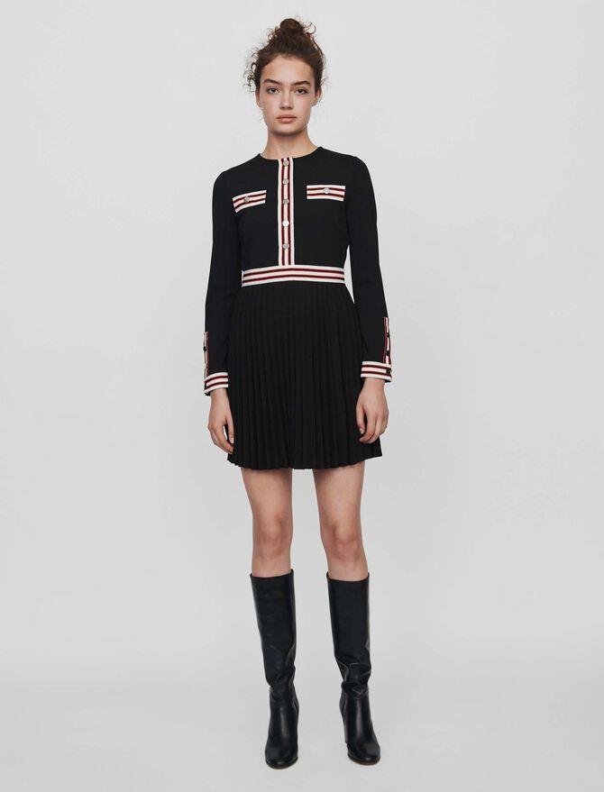 Vestito plissettato con bande - SoldesFR_Robes - MAJE