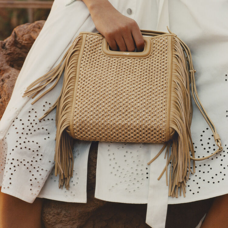 Borsa M con frange in raffia : categories colore NATUREL