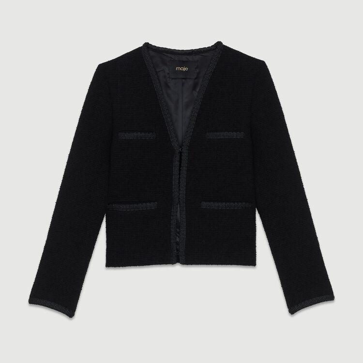 Giacca corta in maglia bouclette : Giacche colore Nero