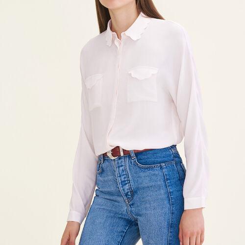 Camicia in mélange di seta : Tops colore Rosa