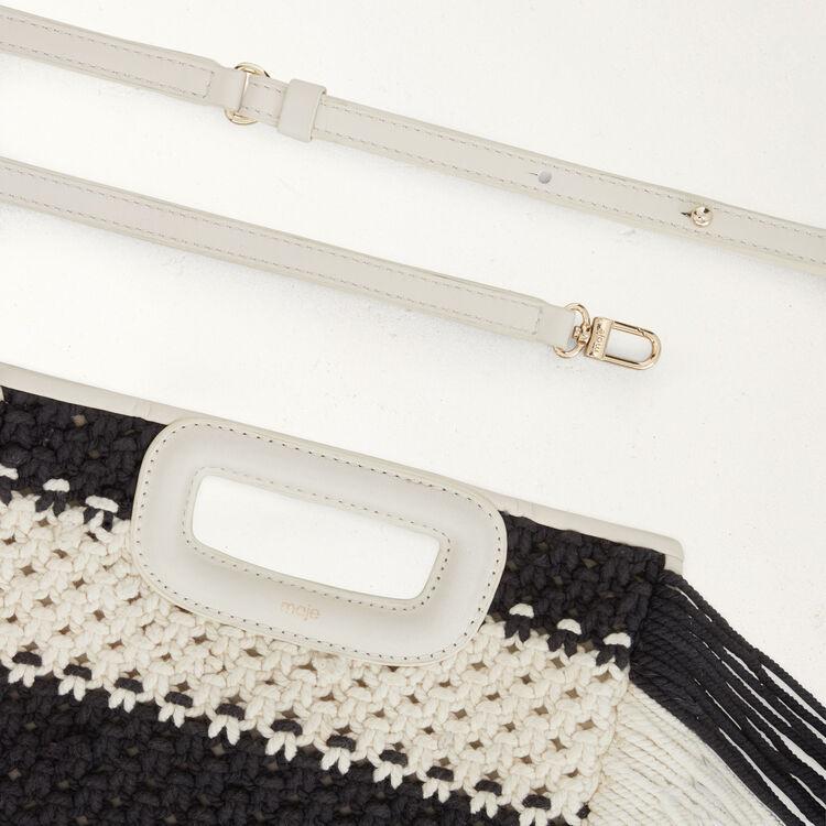 Borsa M in pelle e maglia bicolore : Borse M colore Nero