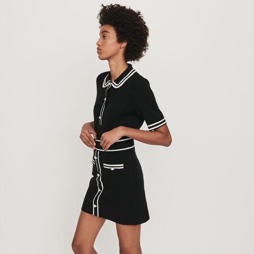 Gonna in maglia a contrasto e gioielli : Gonne e shorts colore Nero