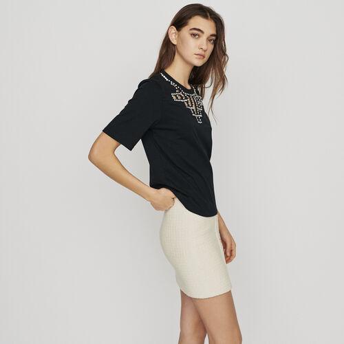 Tee-shirt con ricami a punto : T-Shirts colore NERO