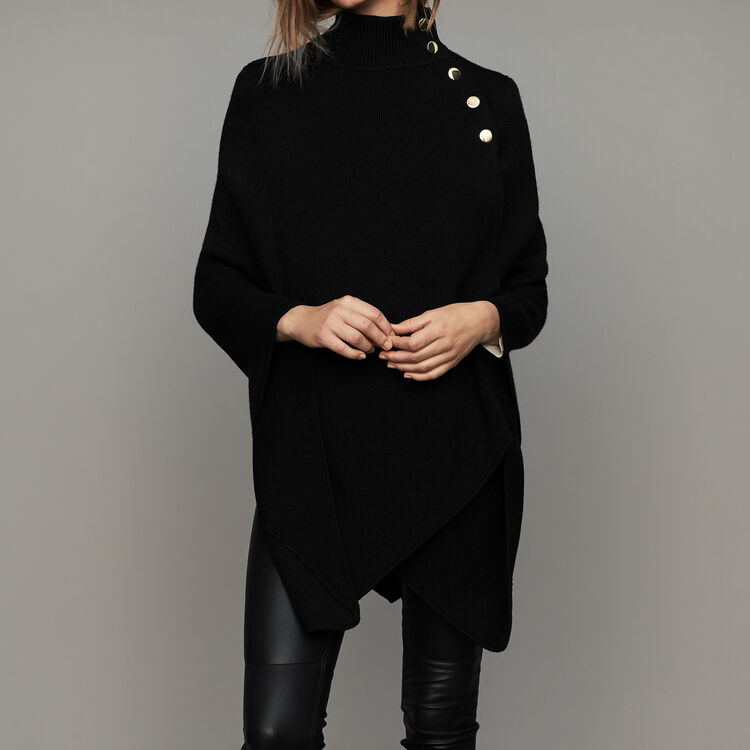 Poncho con collo a camino in misto lana : Scialli & Poncho colore Nero