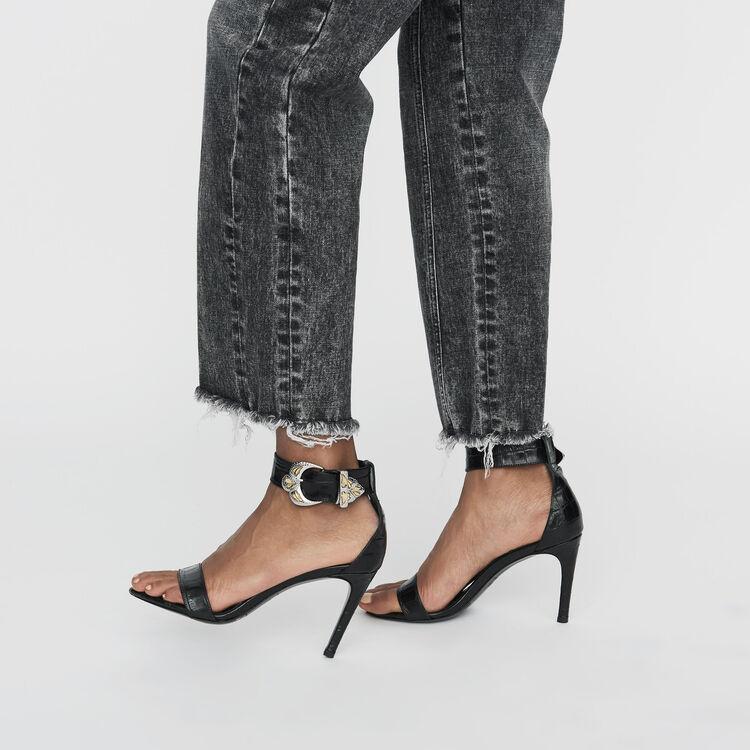 Jeans larghi con dettagli sdruciti : Jeans colore Grigio