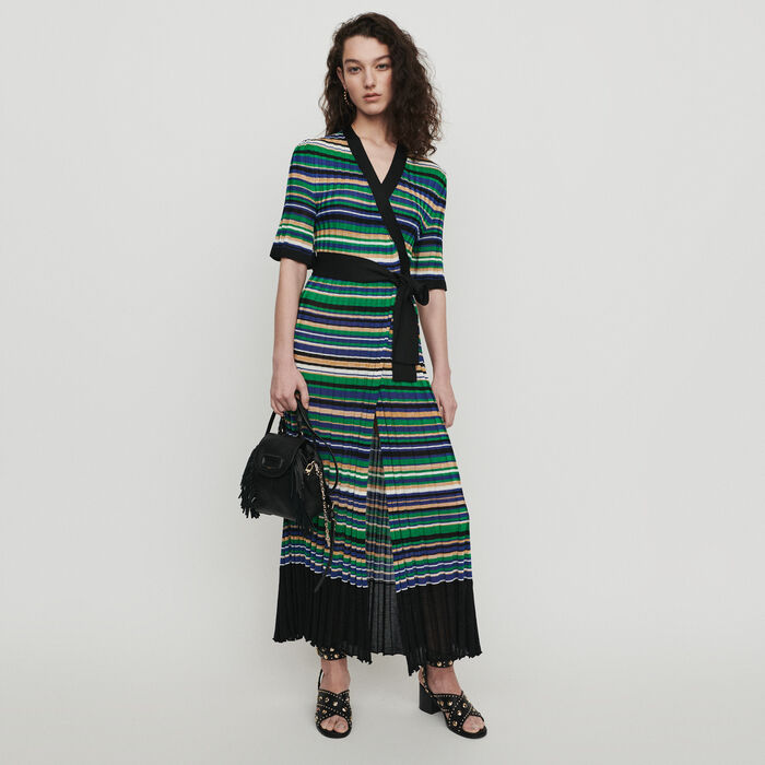 Vestito lungo in maglia rigata : Vestiti colore Multicolore