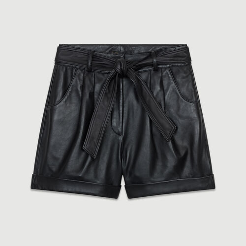 Pantaloncini larghi in pelle : Pelle colore Nero
