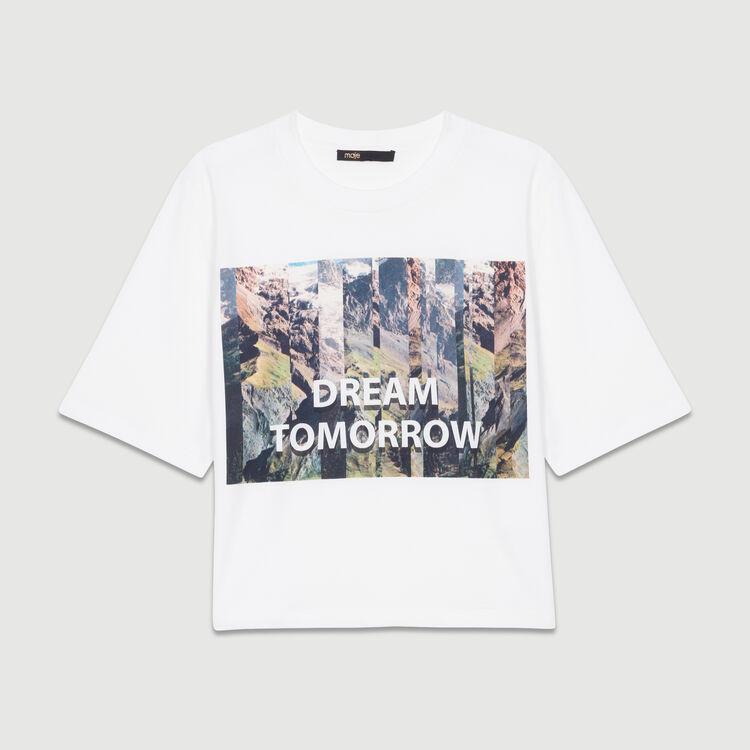 Tee-shirt corta stampata : T-Shirts colore Bianco
