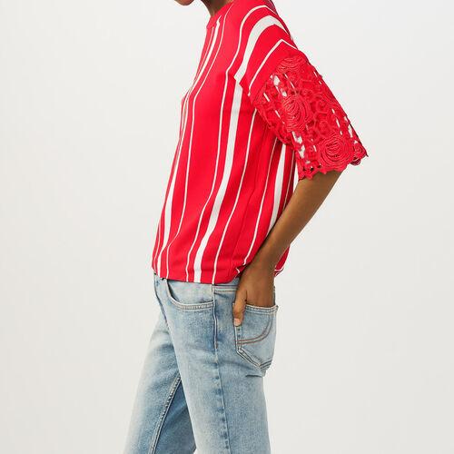 Tee-shirt a righe con maniche in pizzo : Pullover e cardigan colore ROUGE