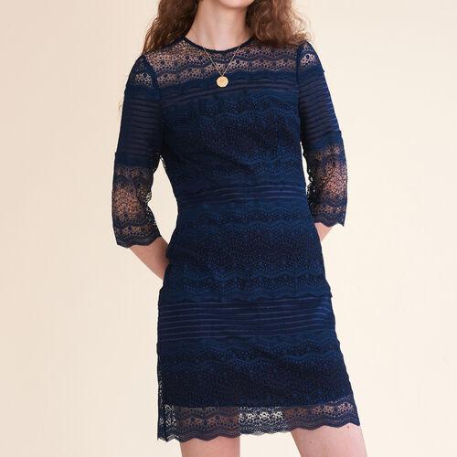 Abito in pizzo bicolore : Vestiti colore Blu Marino