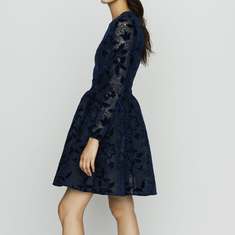 Vestito pattinatrice con maniche lunghe : Vestiti colore Blu Marino