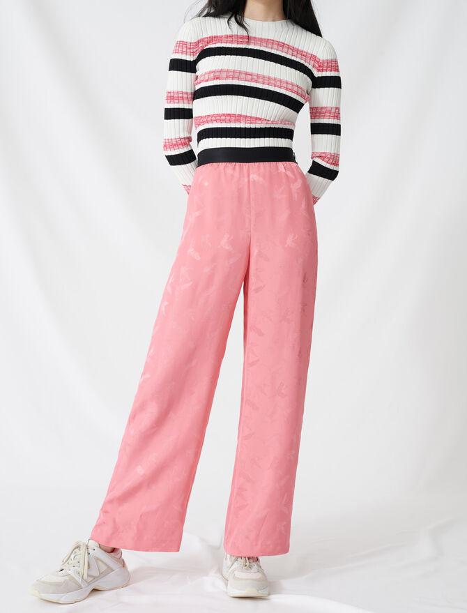 Pantaloni a palazzo in jacquard satinato - Pantaloni e Jeans - MAJE