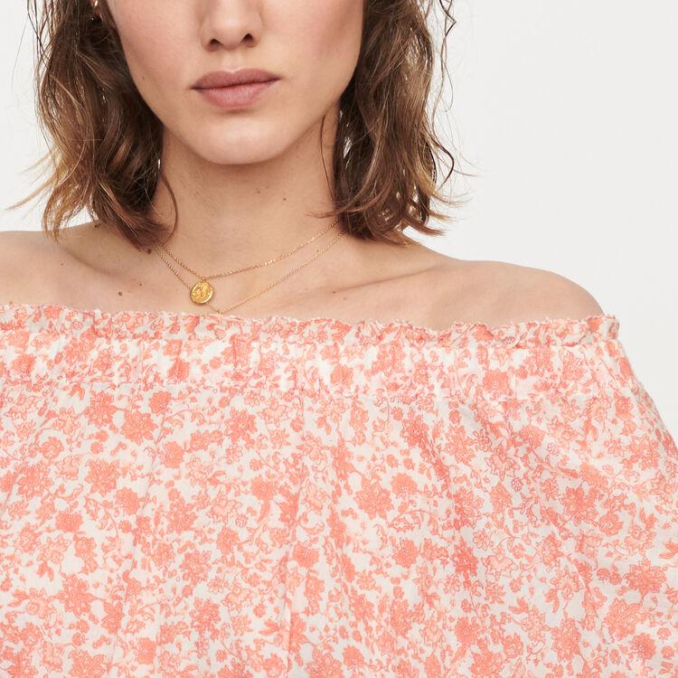 Abito corto floreale in voile di cotone : Vestiti colore Corallo