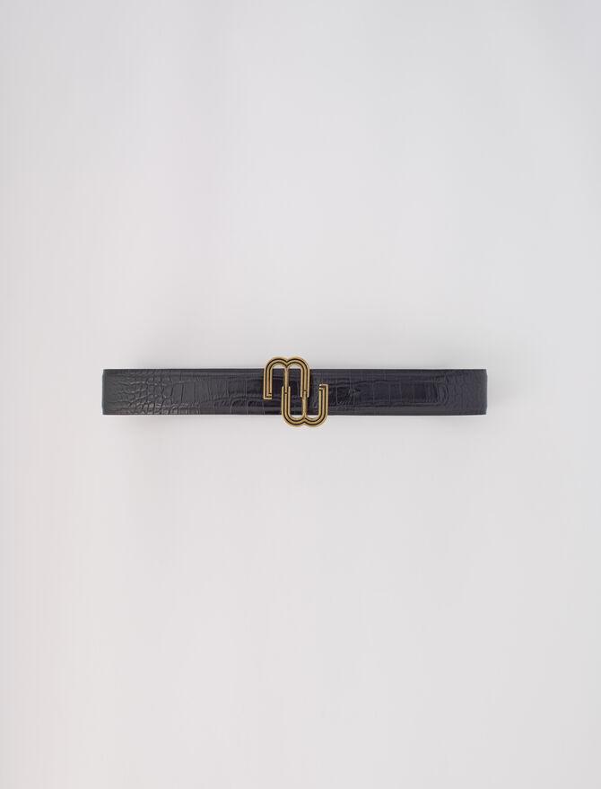 Cintura doppia M in pelle coccodrillo - Les pièces d'exception - MAJE