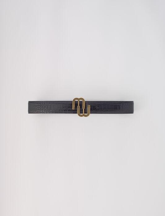 Cintura doppia M in pelle coccodrillo : Cinture colore Nero