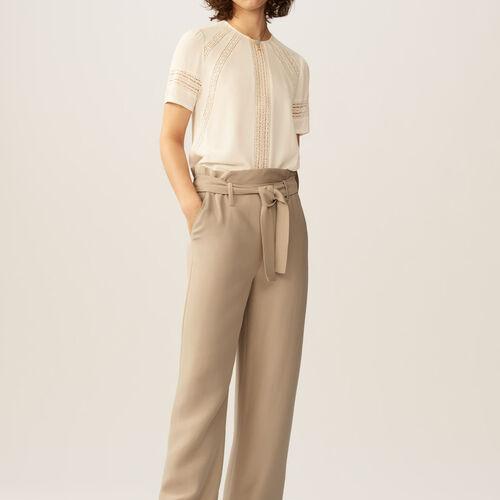 Pantaloni larghi con cintura : Pantaloni & jeans colore Beige