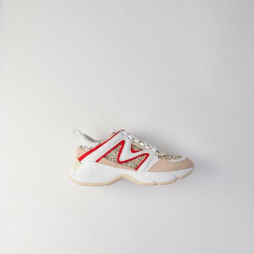 Sneakers W22 con paillettes : Sneakers colore Argento