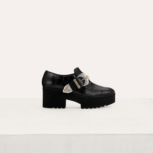 Leather derby shoes with buckle : Scape basse colore Nero