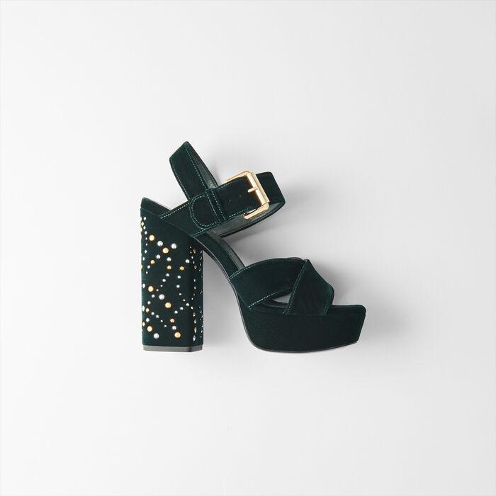 Sandali platform in velluto ve borchie : Scarpe colore VERT