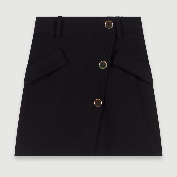Gonna in crêpe con bottoni a contrasto : Gonne e shorts colore Nero