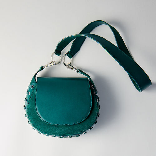 Laceup leather and suede Gyps handbag : Campagna FW19 colore VERT