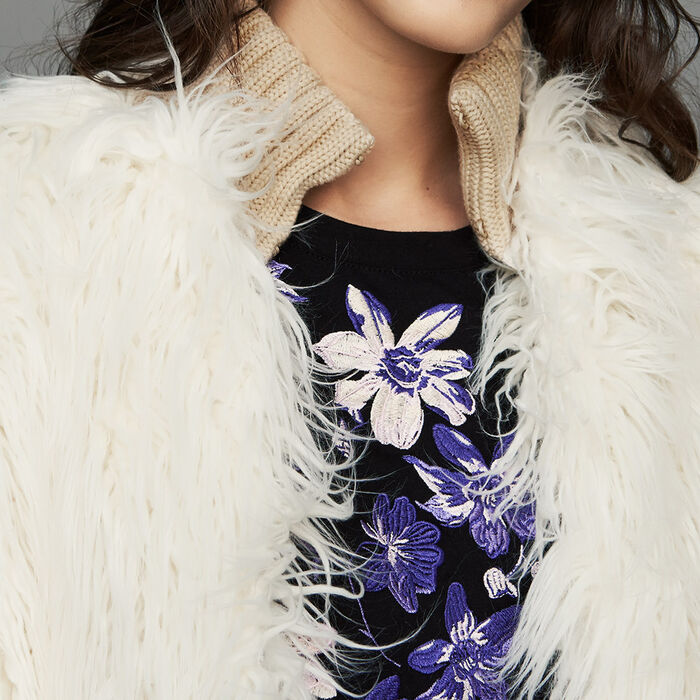 Cappotto corto in finta pelliccia : Cappotti colore ECRU