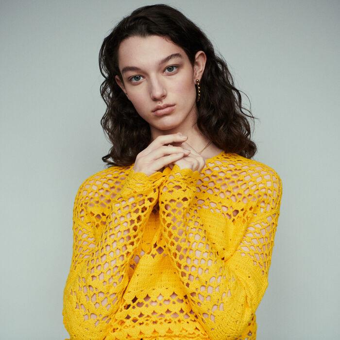Pull oversize in maglia crochet : Pullover e cardigan colore Giallo
