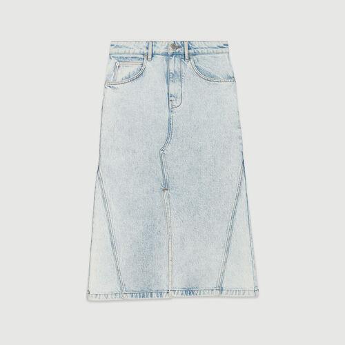 Gonna lunga in jeans delavè : Gonne e shorts colore Denim
