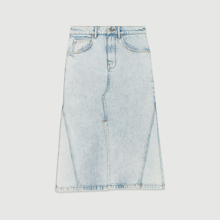 Gonna lunga in jeans delavè : Gonne e shorts colore Denim