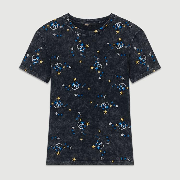 Tee-shirt in cotone delavè con ricami : T-Shirts colore Grigio