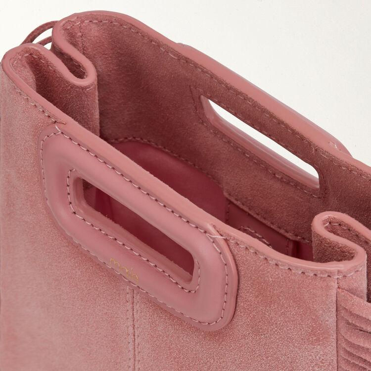 Borsa M Mini in suede con catena : M Mini colore Rosa