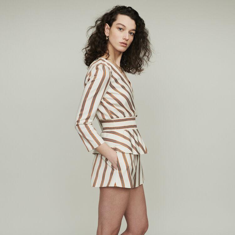 Tuta apantalone corto a righe : Gonne e shorts colore A Righe
