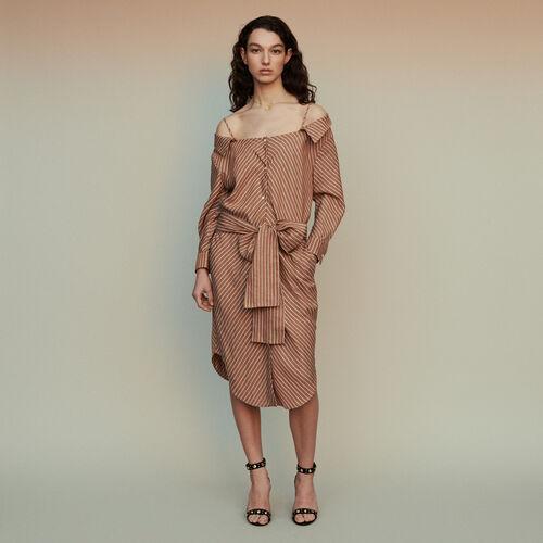Scamiciato a righe con spalle nude : Vestiti colore Terracotta