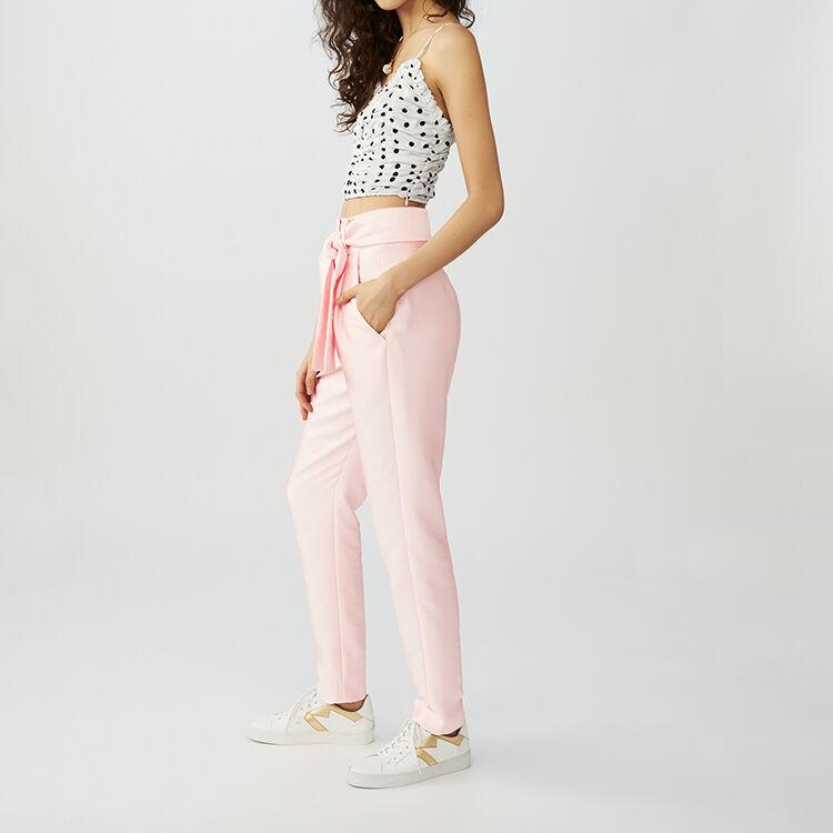 Pantaloni con pinces e cintura : Pantaloni colore Rosa