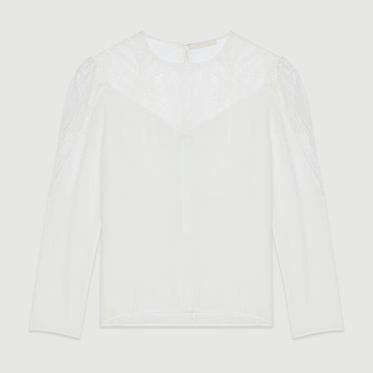 Top  con pizzo : Tops e Camicie colore Bianco