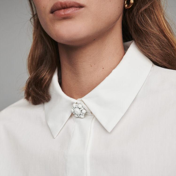 Camicia in popeline con bottoni gioiello : Tops e Camicie colore Bianco