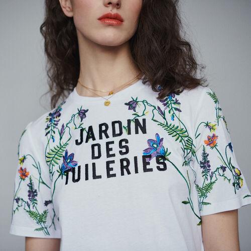 Tee-shirt con ricami : T-Shirts colore Bianco