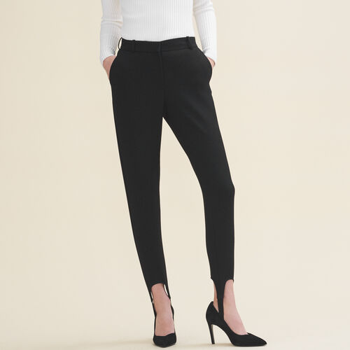 Pantaloni fuseau in crêpe : Pantaloni e jeans colore Nero