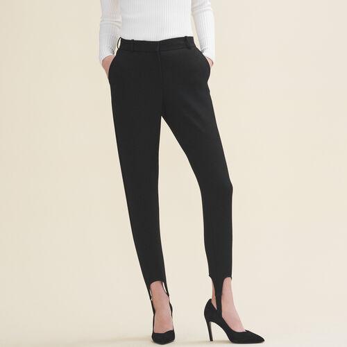 Pantaloni fuseau in crêpe : Pantaloni colore Nero