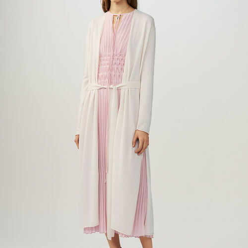 Cardigan lungo con cintura : Pullover e cardigan colore ECRU