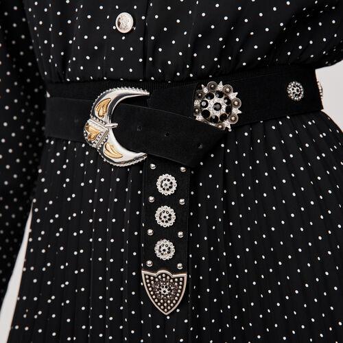 Cintura in suede con borchie : Cinture colore Nero