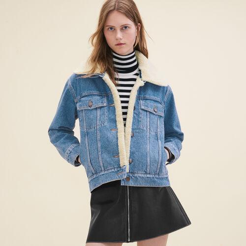 Giacca di jeans dettaglio in shearling : Giubbotti colore Denim