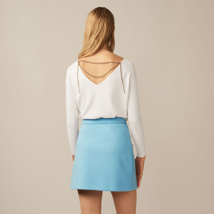 Pullover con scollo sul retro : Maglieria colore Ecru