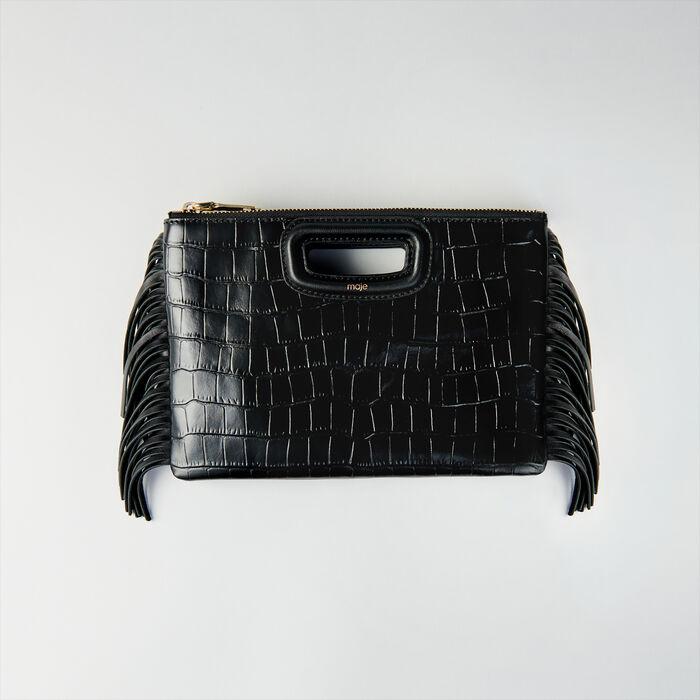 Pochette M Duoin pelle di coccodrillo : M Duo colore Nero