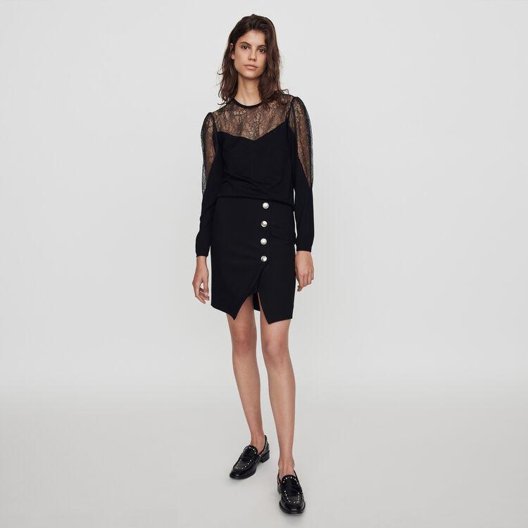 Pull fine in maglia e pizzo : Pullover e cardigan colore Nero