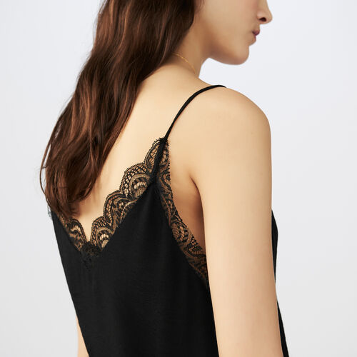Lace top : Tops colore Nero