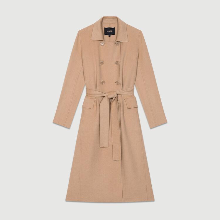 Cappotto lungo in lana double face : Cappotti colore Cammello